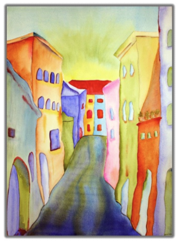 On the Streets 1 Watercolor